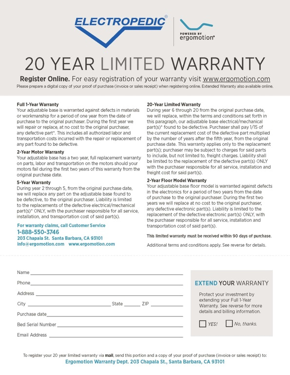 Electropedic Warranty