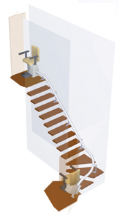 handicare van gogh stairchair la CA.stairlift curved railss